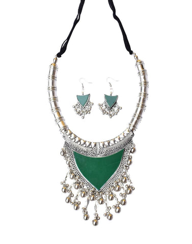 Oxidized Metal Navaratri Green Color Necklace Set