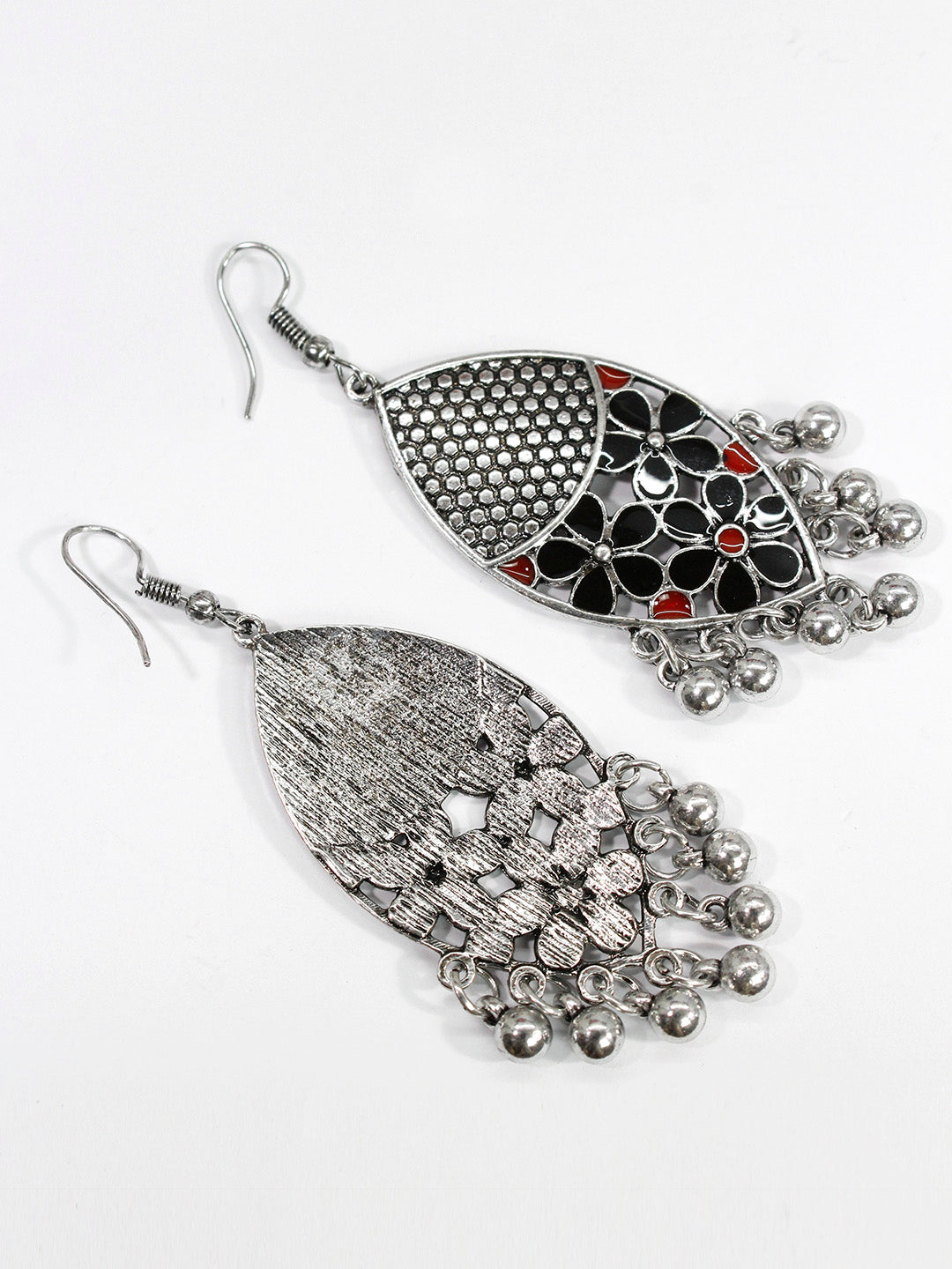 Aana Oxidised Silver Plated Leaf Design Maroon And Black Color Earring