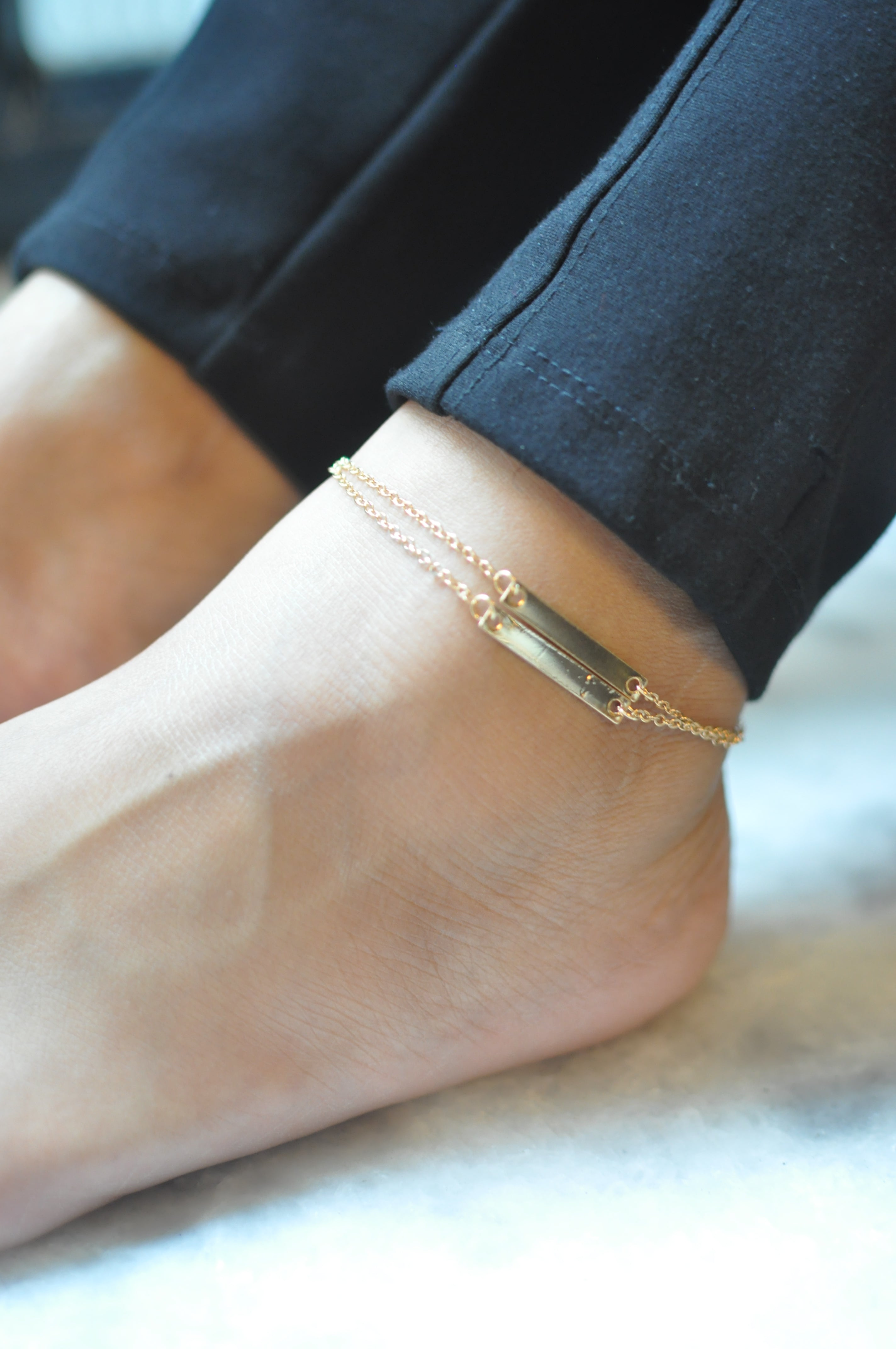 2 Layered Linked Bar Anklet-STYLE FIESTA-Anklet