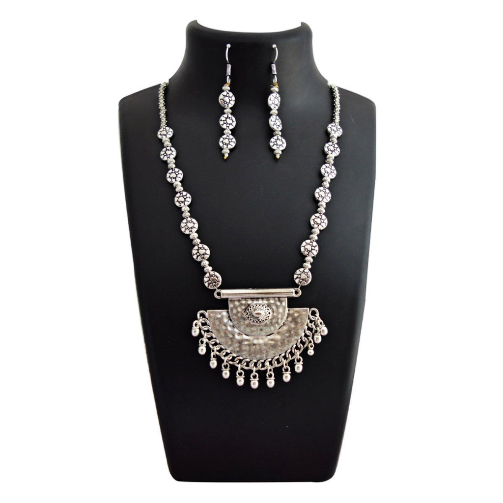 Navaratri Oxidised German Silver Round Shape Floral Design Pendant Necklace Set