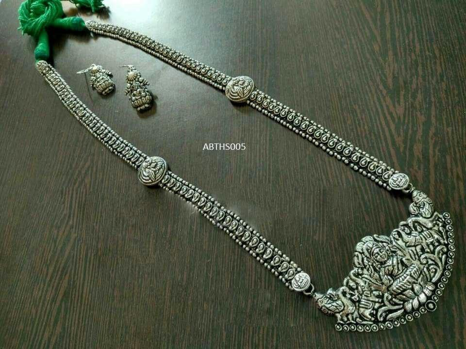 Oxidized German Silver Temple Long Haar Necklace With Earring