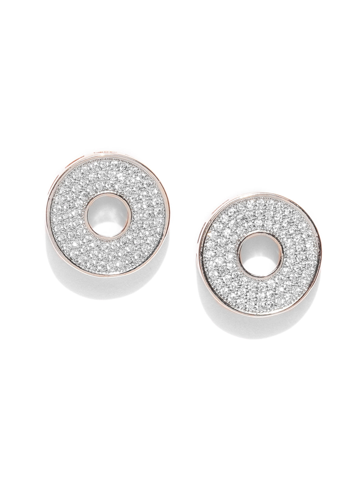 Zaveri Pearls Cubic Zirconia Studded Rose Gold Hollow Circular Shape Stud Earring