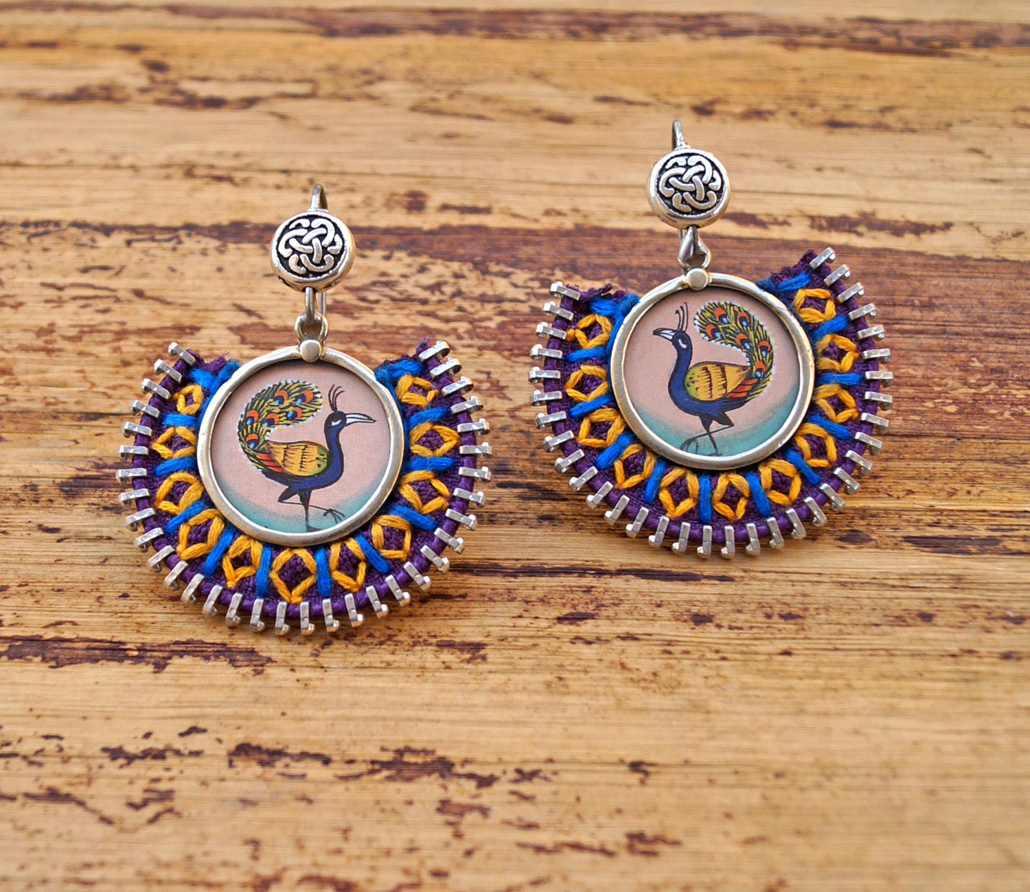 Purple Colour Tribal Embroidered Peacock Design Dangler Earring