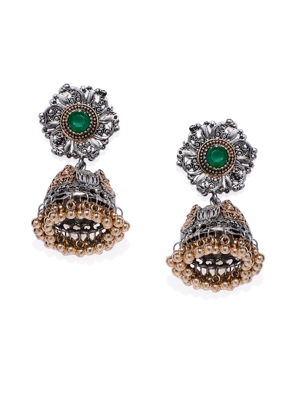 Zaveri Pearls Antique Two Tone Temple Jhumki Earring