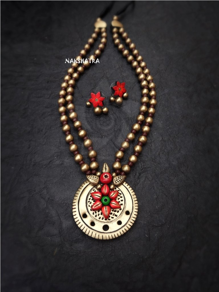 Nakshatra Terracotta Goddess Daisy Flower Design Long Necklace Set