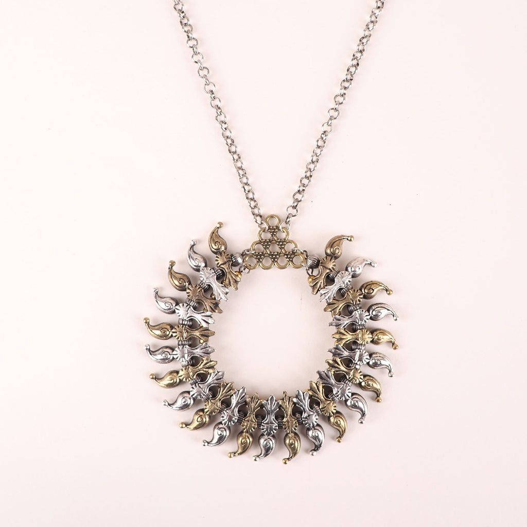 Dual Tone Leaf Design Oktaria Circle Long Necklace By Cippele-Cippele-Necklace