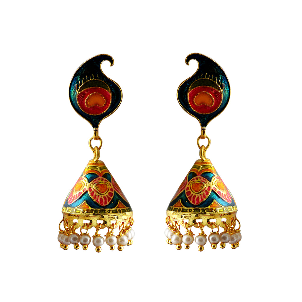 Mk Jewellers Blue And Pink Color Meenakari Peacock Feather Cone Jhumka Earring-MK JEWELLERS1-Earring