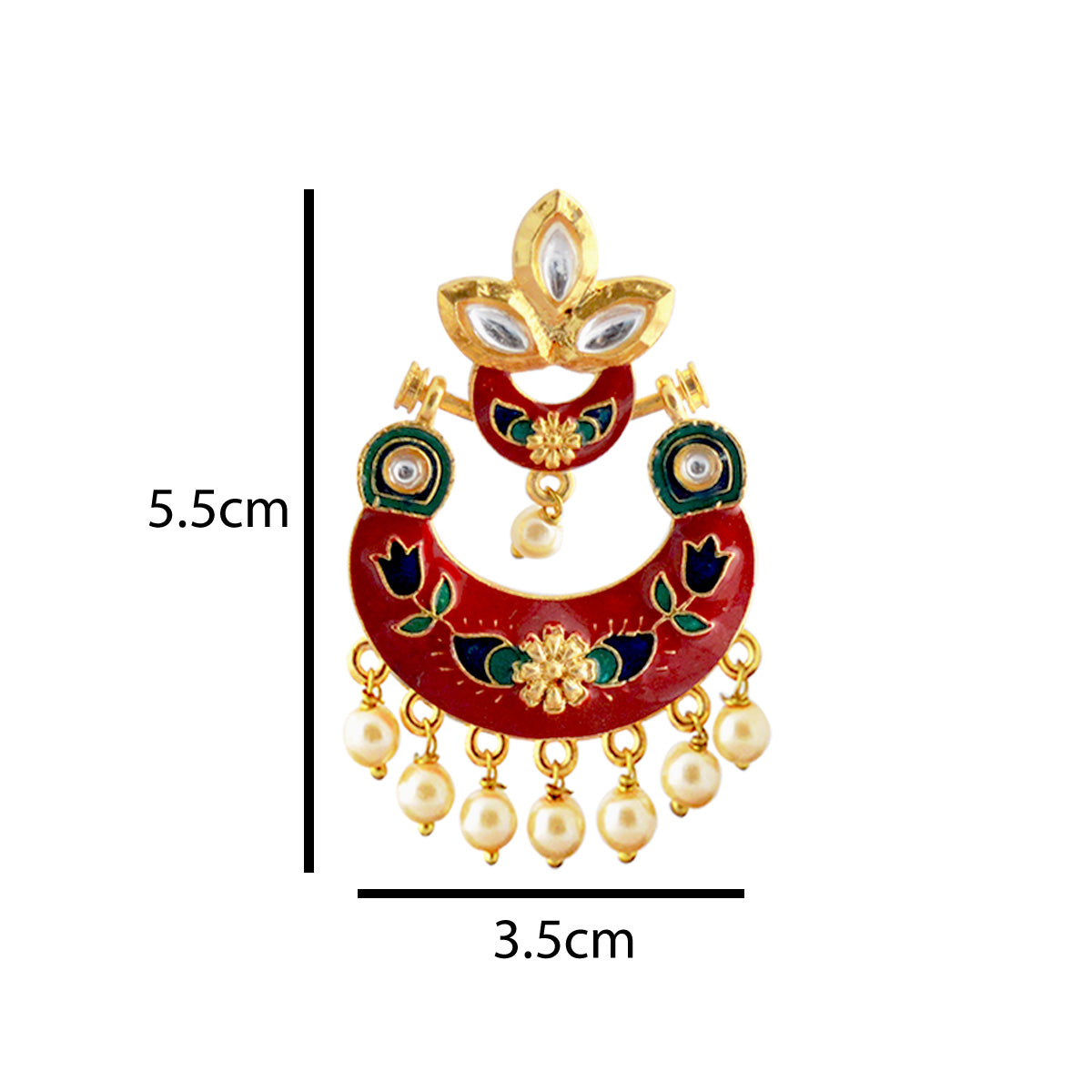 Mk Jewellers Red Color Meenakari Floral Design With Kundan Dangler Earring-MK JEWELLERS1-Earring