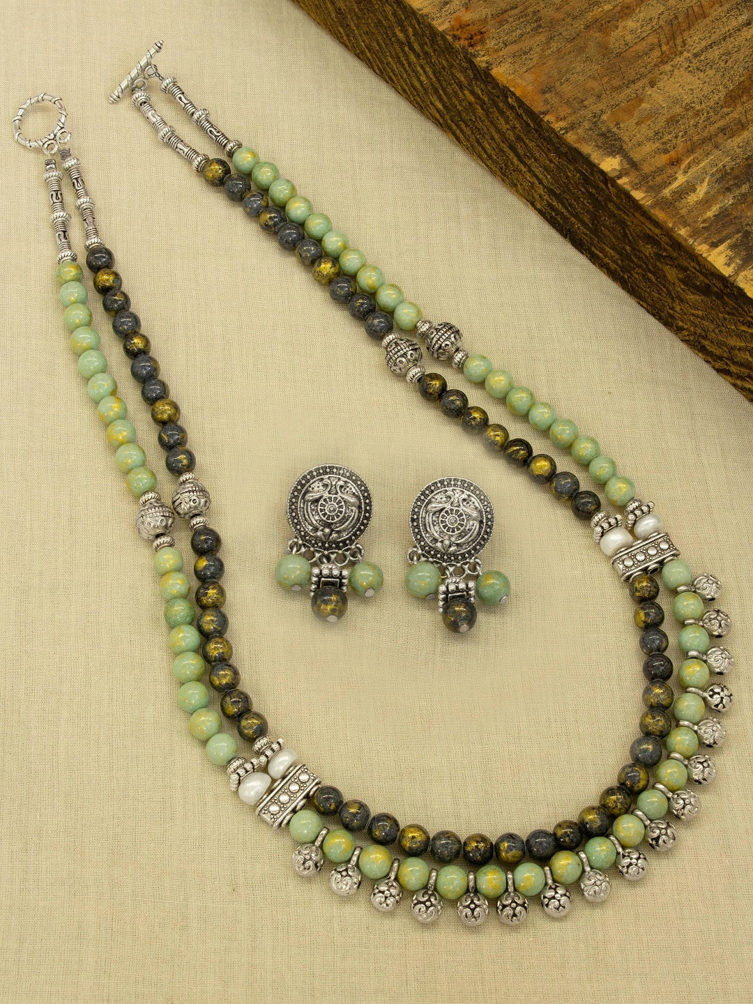 Silver Plated Two Layered Semi Precious Chrysocolla Beads Long Necklace Set-JEWEL BOX-Necklace Set