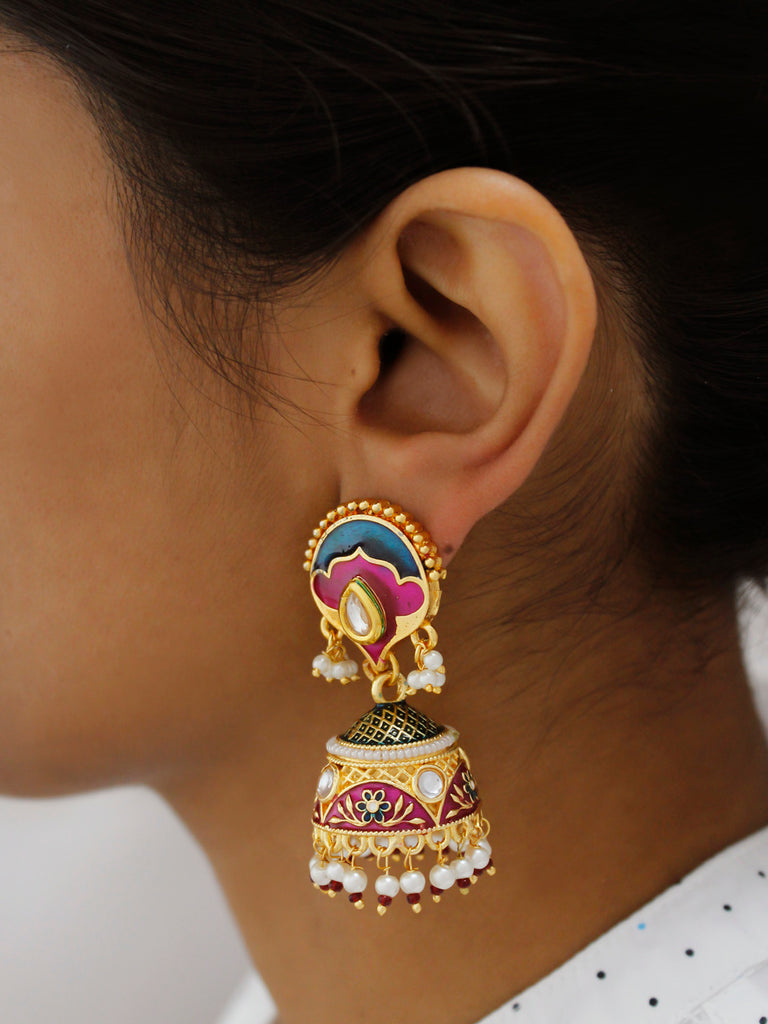 Avismaya Gold Plated Semi Circle Shape High Quality Meenakari Jhumka Earring-AVISMAYA1-Earring