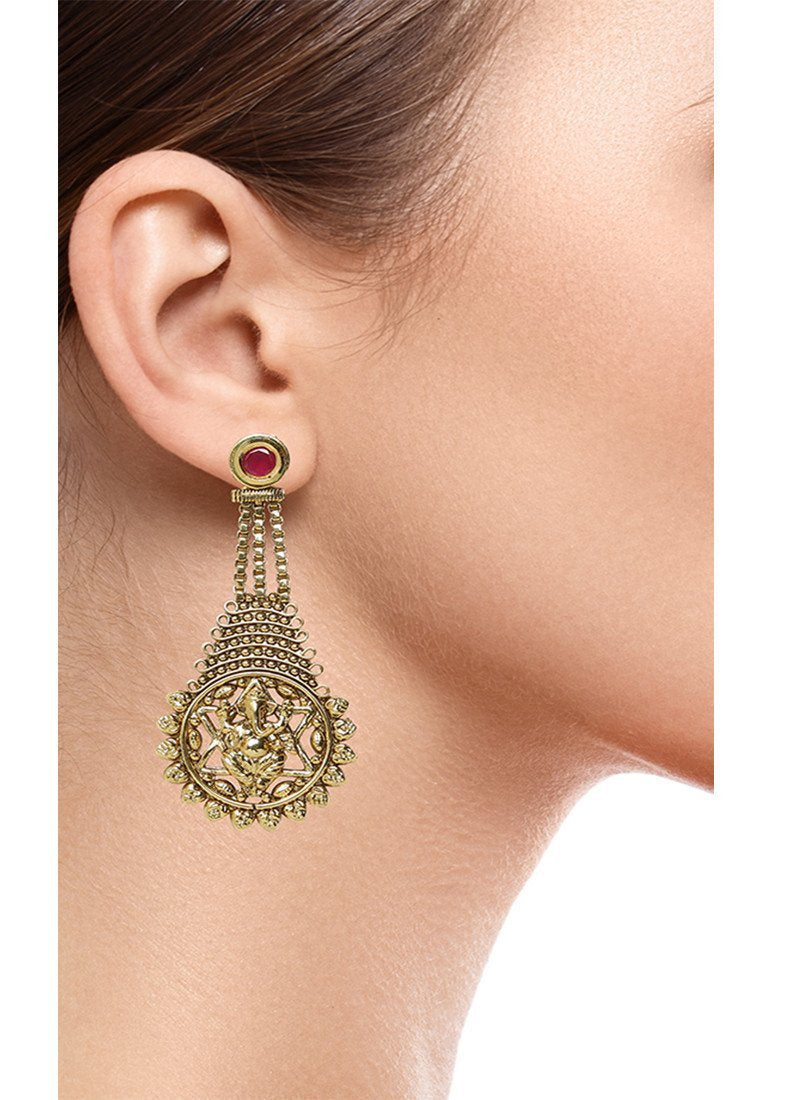 Fida Red Ganesha Earring
