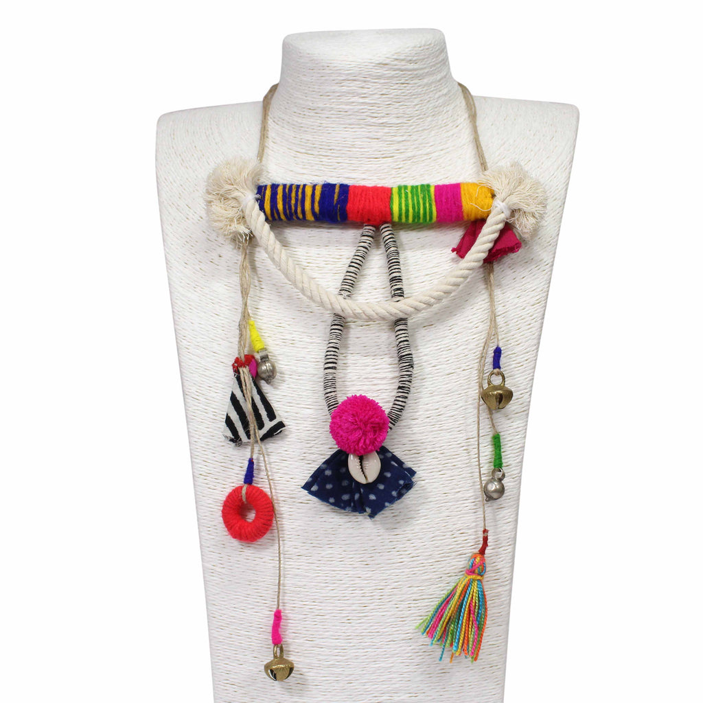 Hand Crafted Multicolour Yarn Twined With Ghinghroo fabric Necklace