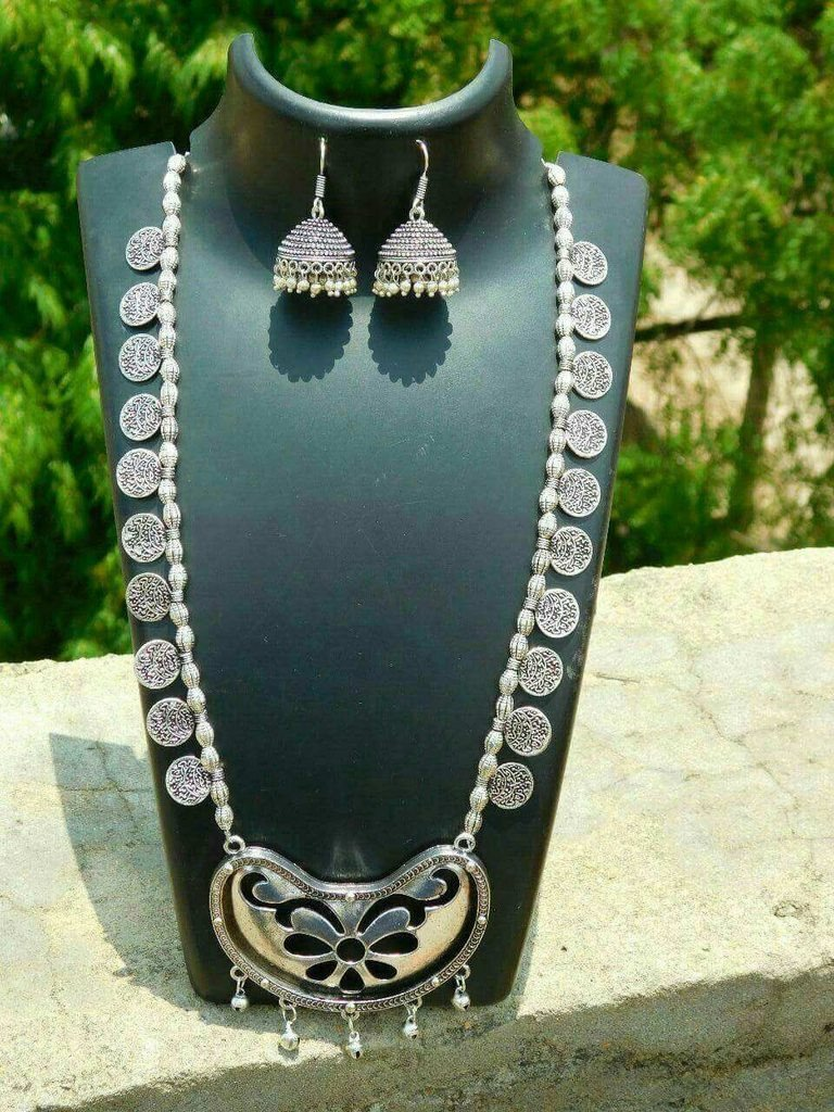 Oxidised German Silver Long Necklace Set