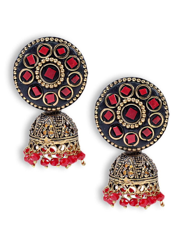 Red Colour Round Lacquer Jhumka Earring