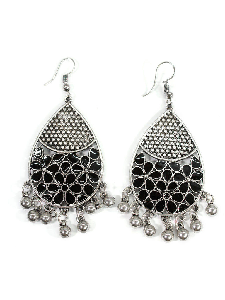Aana Oxidised Silver Plated Leaf Design Black Color Earring