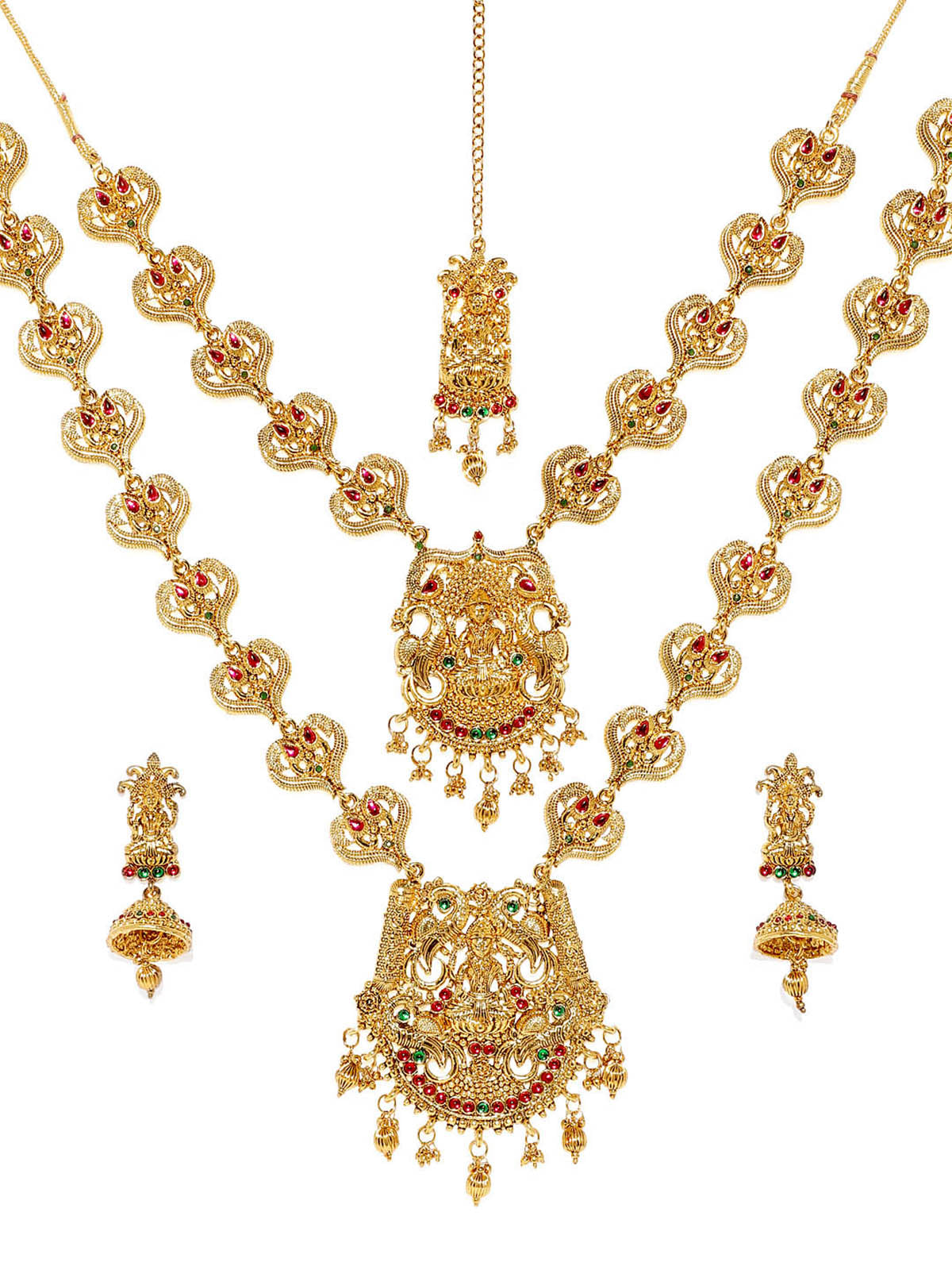 Zaveri Pearls Sacred Goddess Bridal Temple Necklace Set-ZAVERI PEARLS1-Jewellery Set