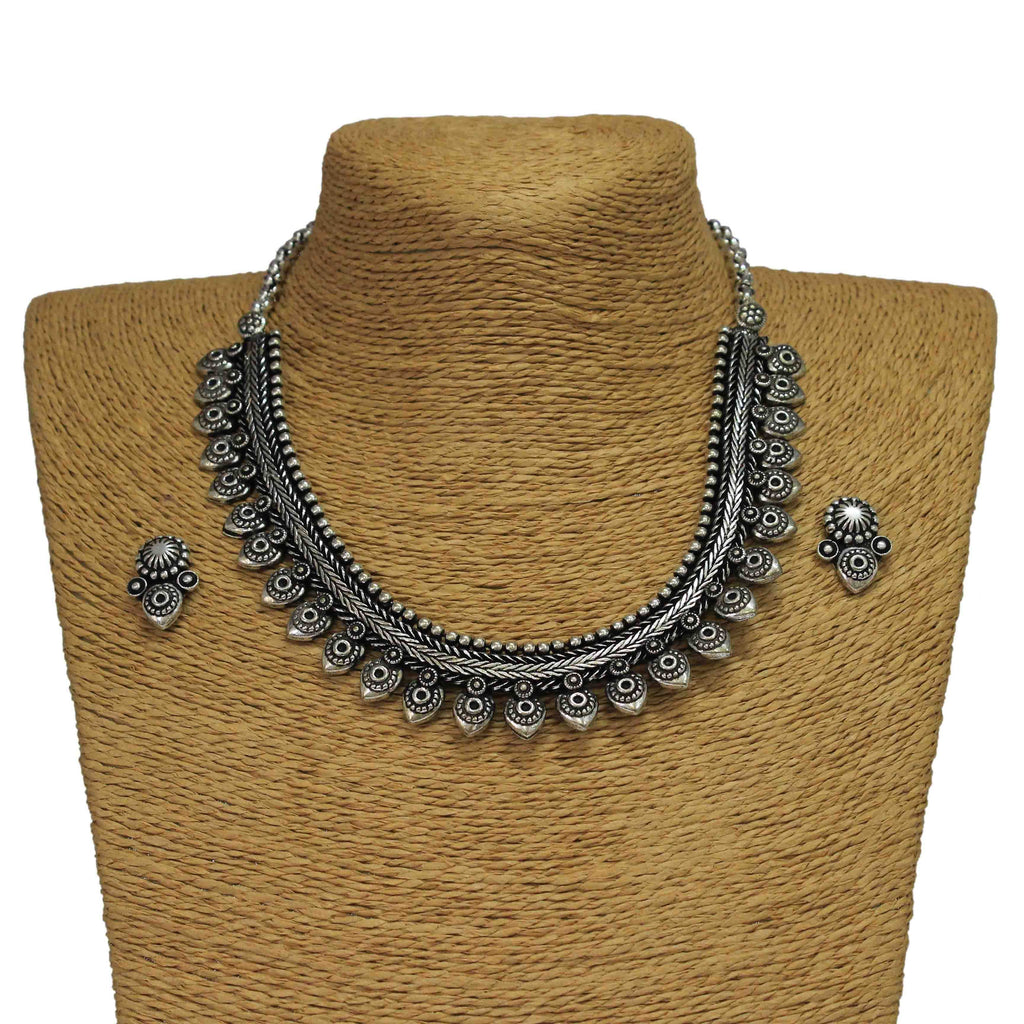 Oxidized German Silver Goddess Lord Krishna Peacock Feather Design Choker Necklace Set