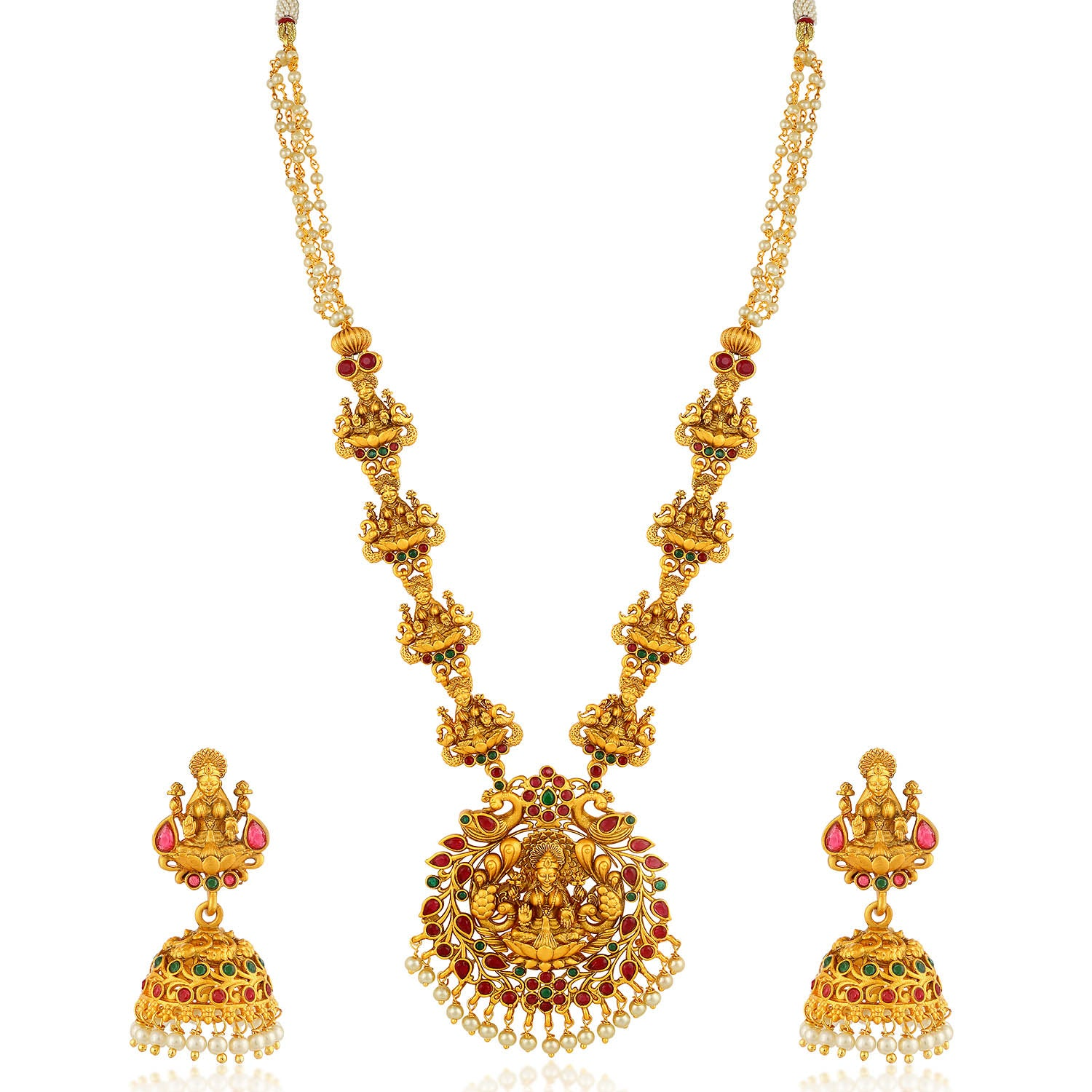 Sukkhi Glorious Pearl Gold Plated Laxmi Long Haram Necklace Set For Women-SUKKHI1-Necklace Set