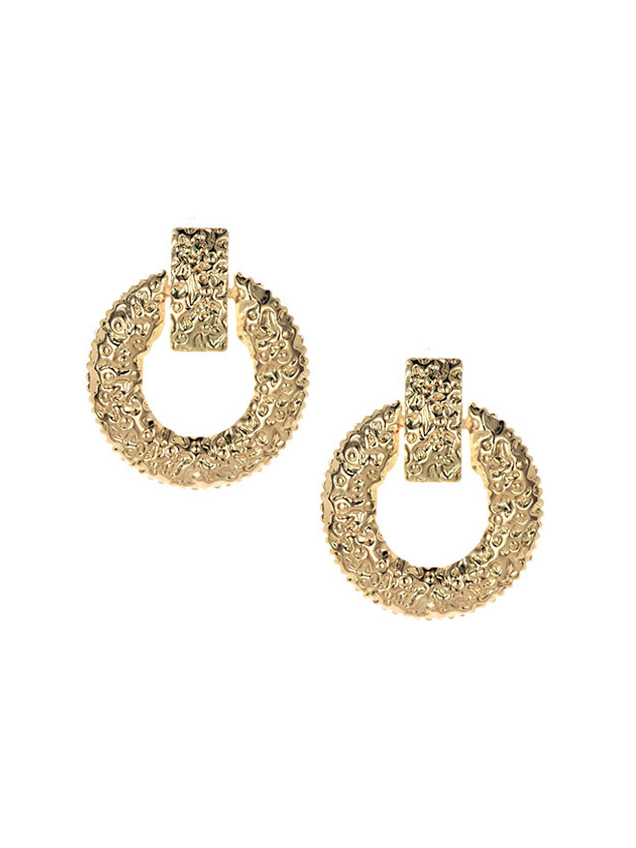 Textured Circular Stud Earrings-STYLE FIESTA-Earring