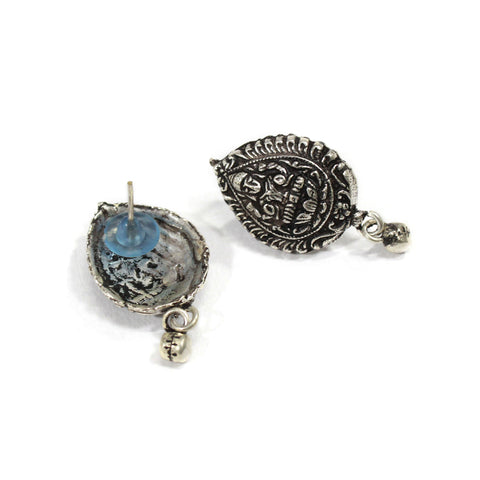 Oxidised German Silver Lakshmi Design Stud Earring