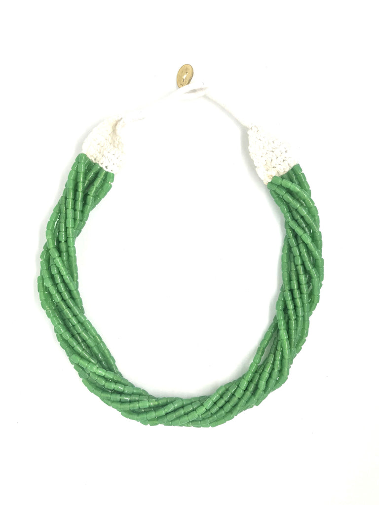 Green Color Glass Beads Multilayer Necklace
