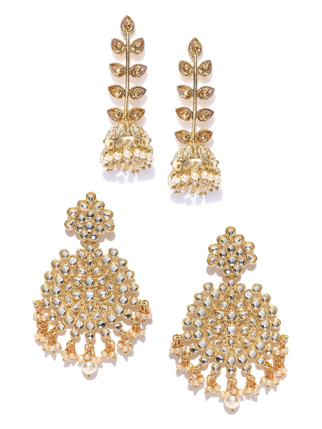 Combo Of 2 Gold Tone Kundan And Pearl Traditional Earrings