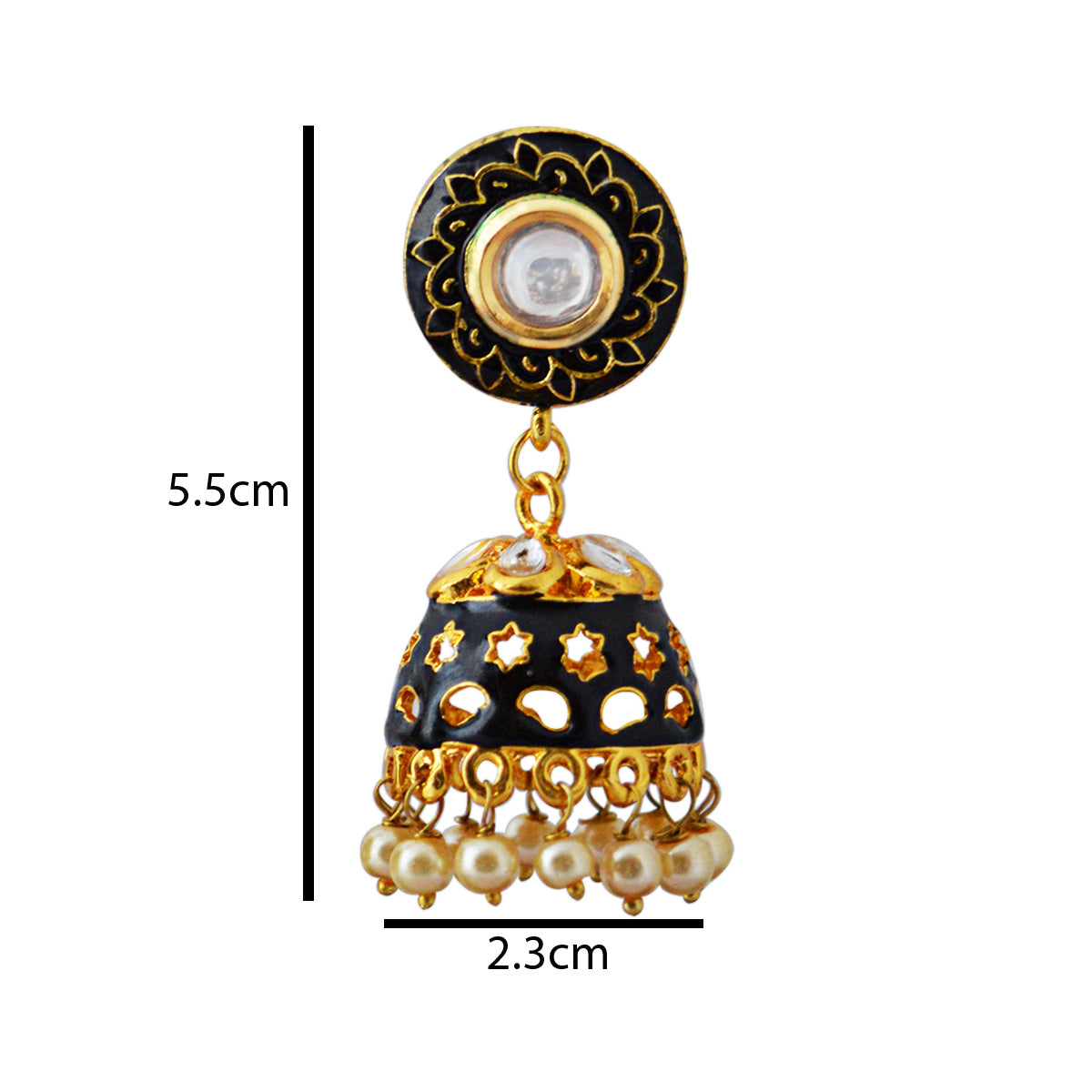Black Color Star Design Pattern With Kundan Stone Meenakari Jhumka Earring-MK JEWELLERS1-Earring