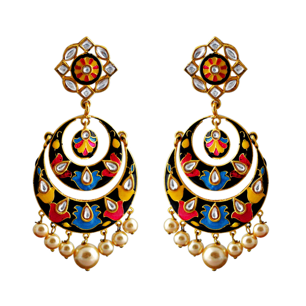 Pink And Yellow Color Double Layer With Kundan Stone Meenakari Dangler Earrings-MK JEWELLERS1-Earring