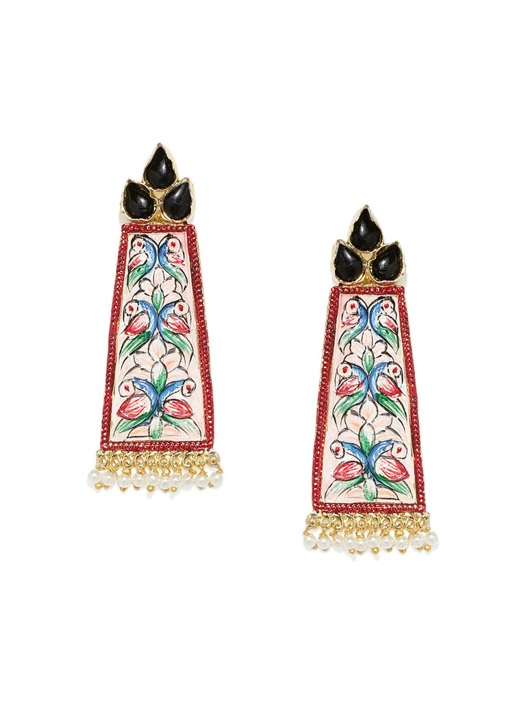 Zaveri Pearls Beautifully Enamelled Peacock Inspired Dangle Earring