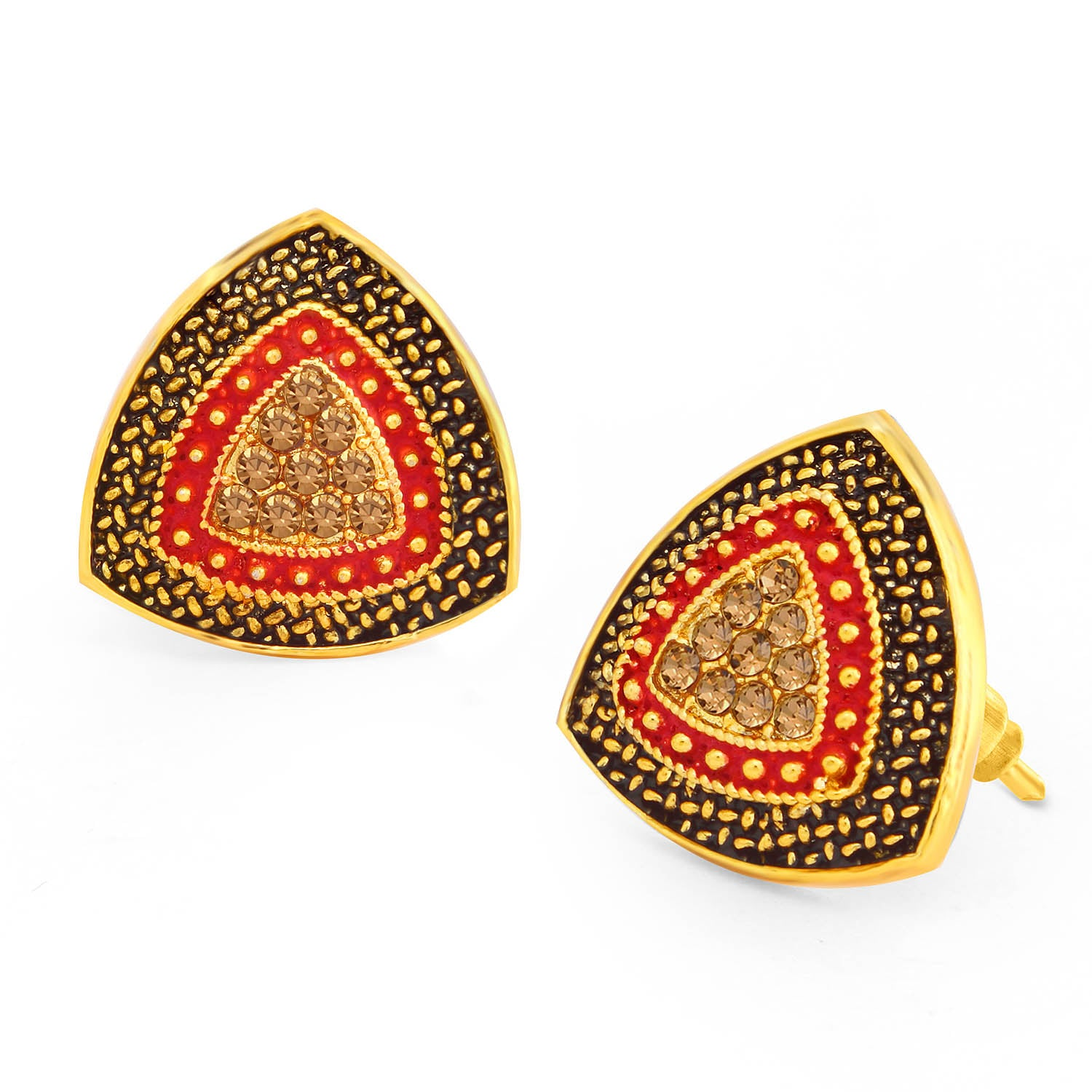 Sukkhi Beautiful LCT Stone Gold Plated Red Mint Meena Collection Stud Earring For Women-SUKKHI1-Earring