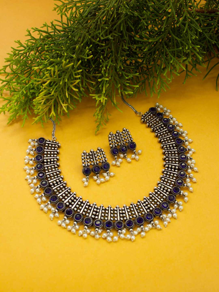 Oxidised Silver Plated Geometric Design With Blue Stone Choker Necklace Set-OXIDIZED-Necklace Set