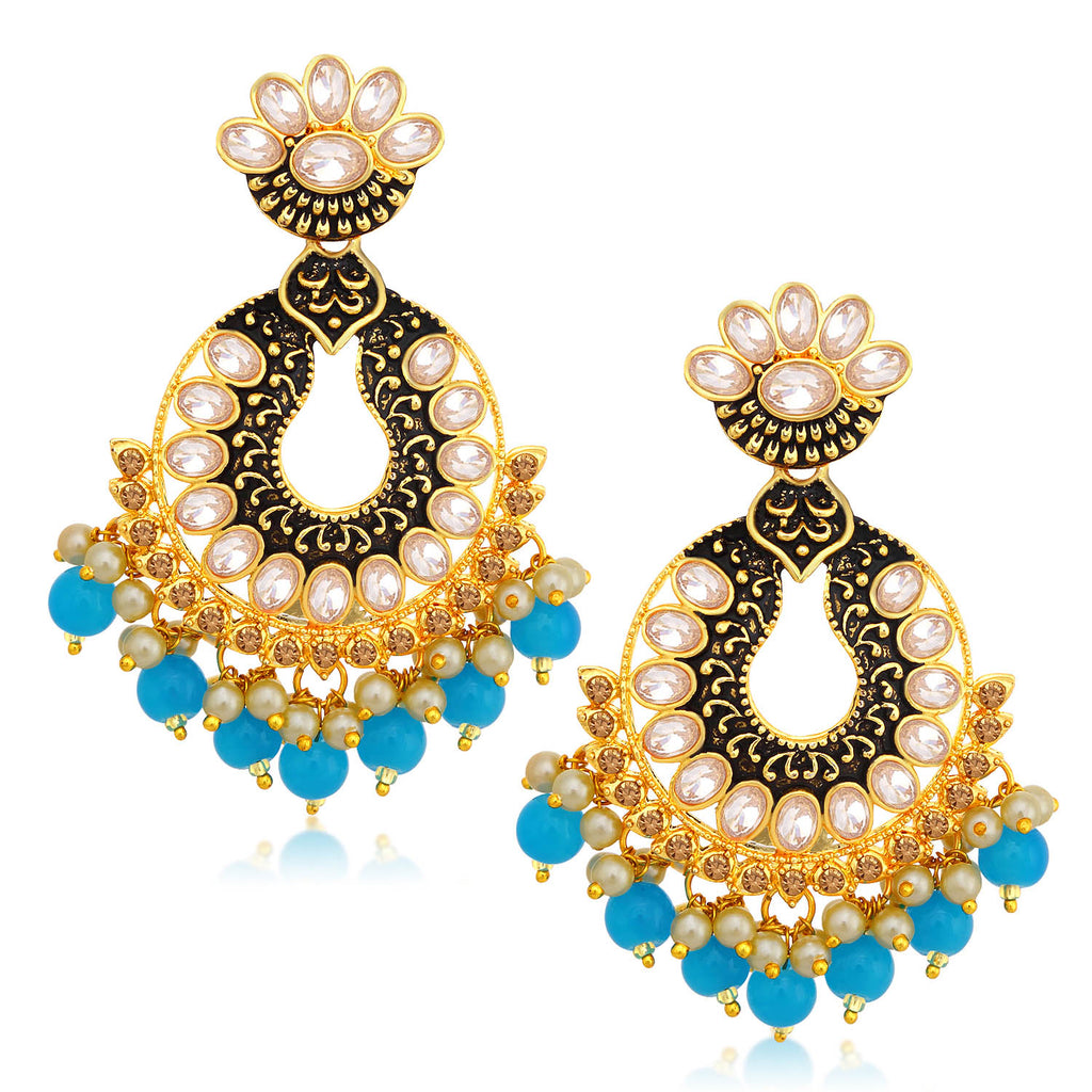 Sukkhi Brilliant LCT Stone Gold Plated Chandelier Earring For Women-SUKKHI1-Earring