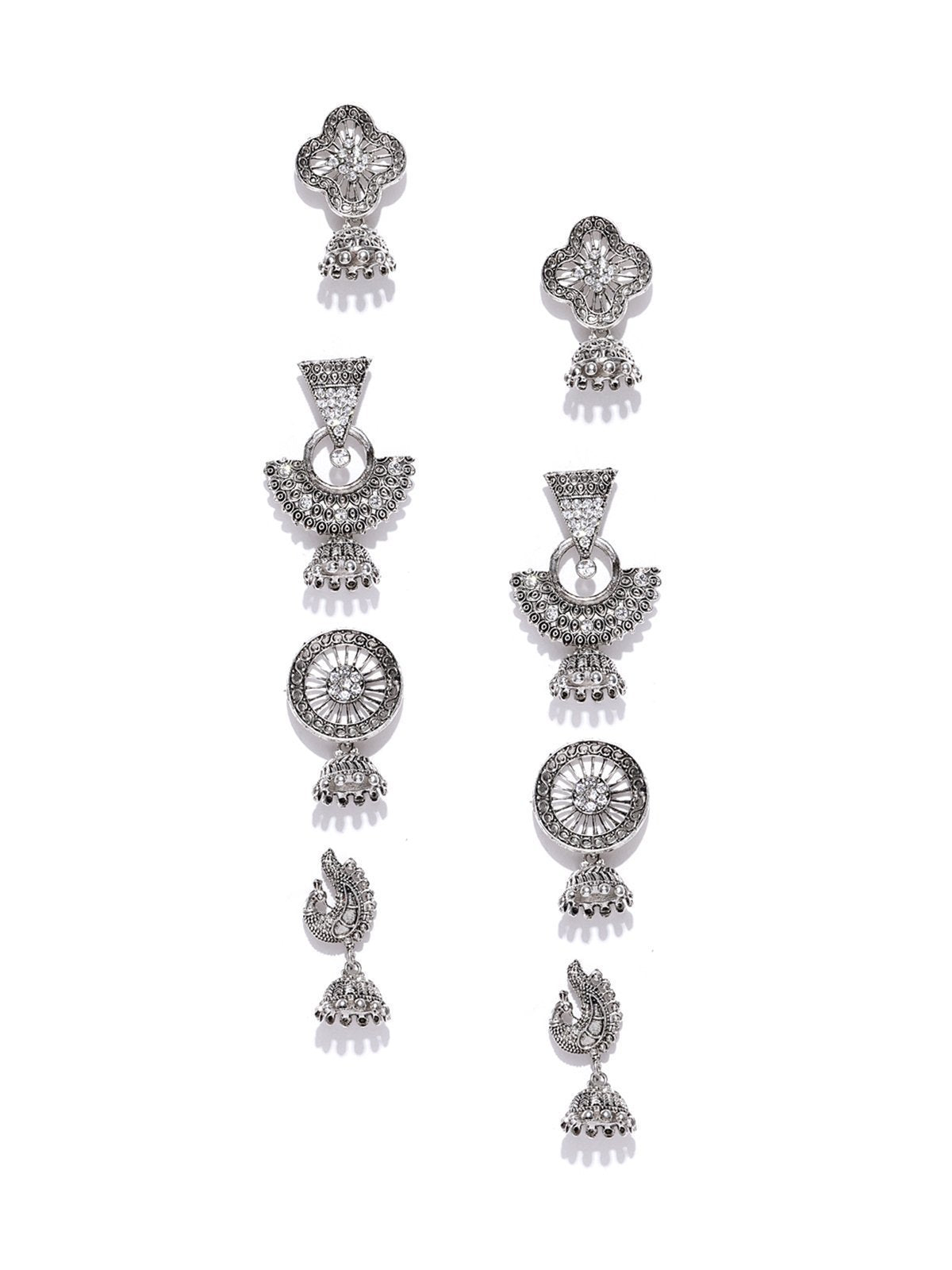 Zaveri Pearls Combo Of 4 Antique Silver Tone Jhumki Earring
