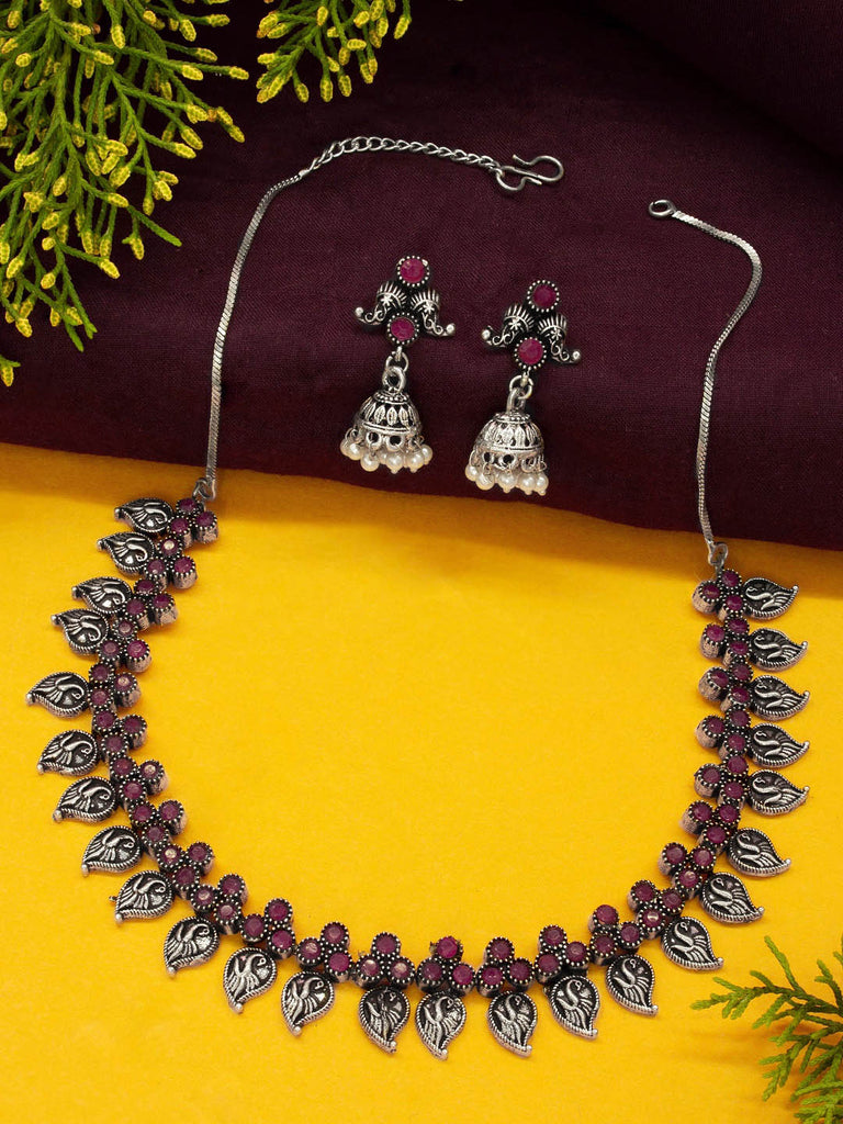 Oxidised Silver Plated Peacock Design Choker Necklace Set-OXIDIZED-Necklace Set
