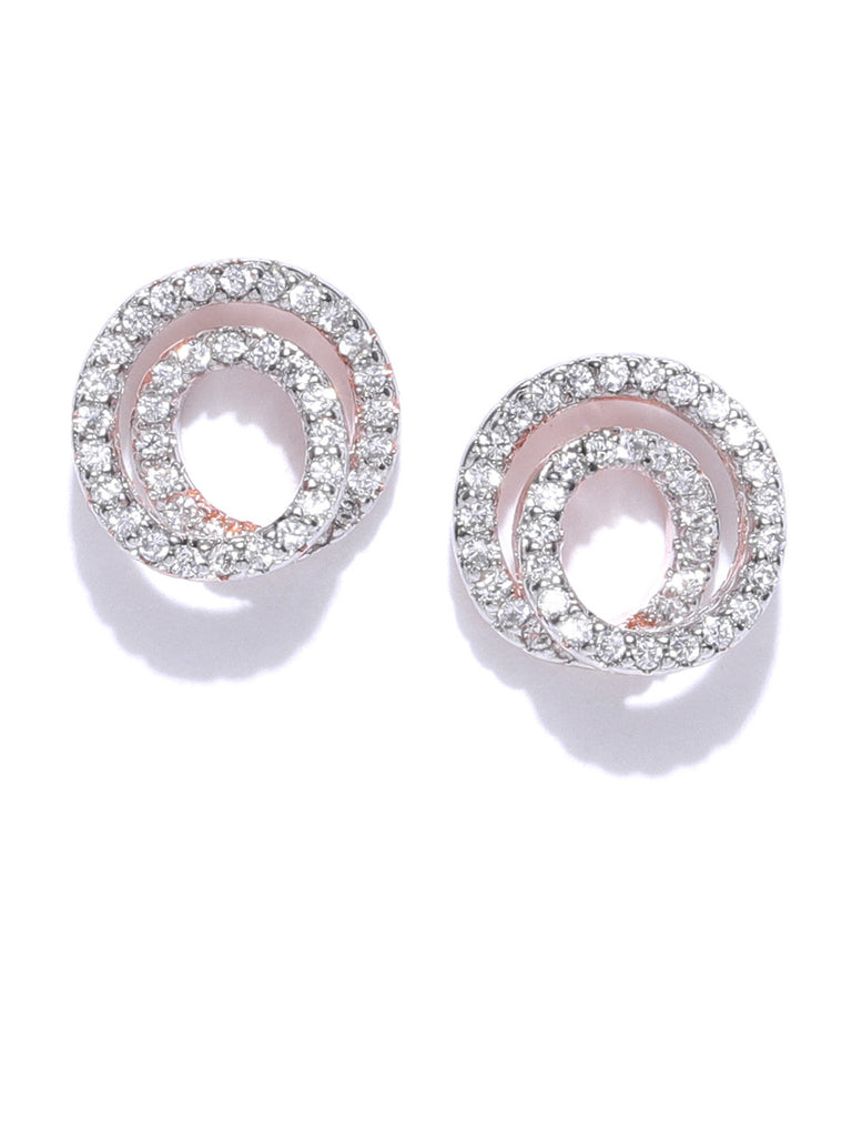 Zaveri Pearls Glittering Cubic Zirconia Studded Rose Gold Stud Earring