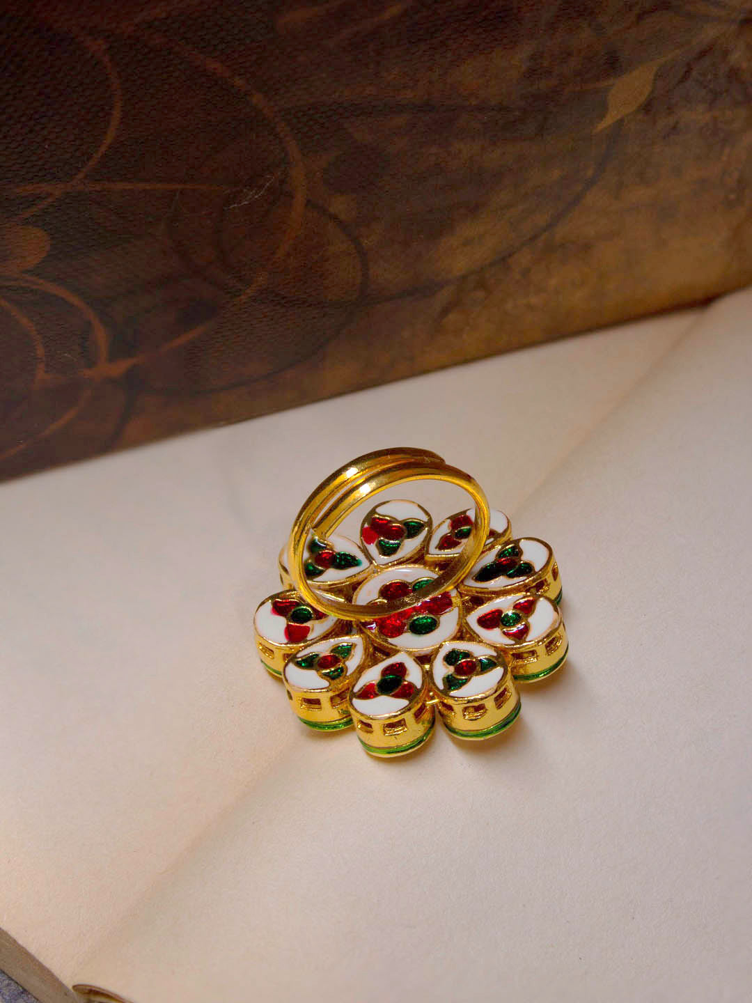 Avismaya Gold Plated Floral Design White Color Kundan Stone Finger Ring-AVISMAYA-Fingering