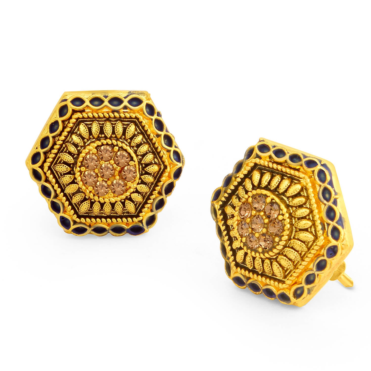 Sukkhi Ritzy LCT Stone Gold Plated Hexagon Purple Mint Meena Collection Stud Earring For Women-SUKKHI1-Earring