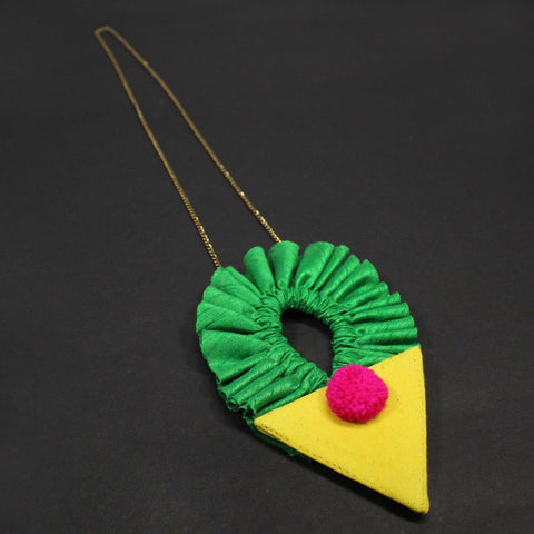 HandCrafted Green Cotton Silk Ruffle And Yellow Triangle With Pink Pom Pom Necklace