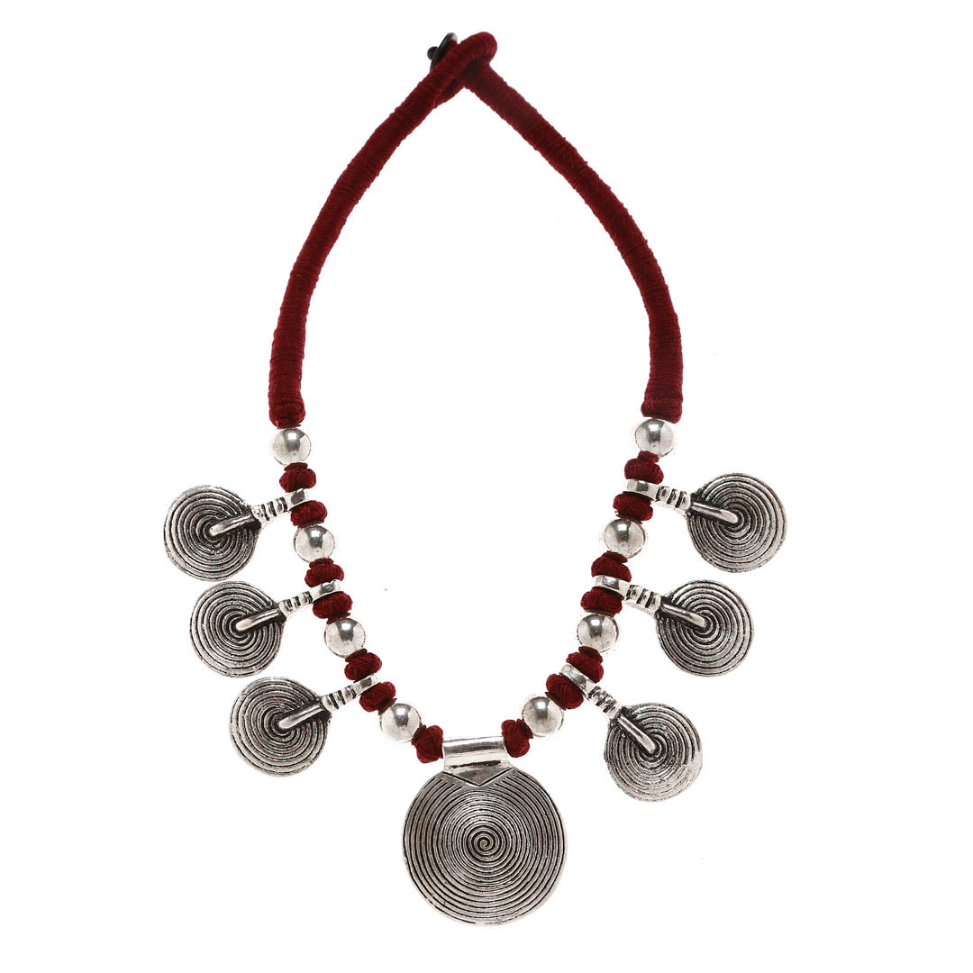 Oxidised Silver Plated With Maroon Color Beads Choker Necklace With Coin Shape Design Motifs By Imli Street-IMLI STREET-Necklace
