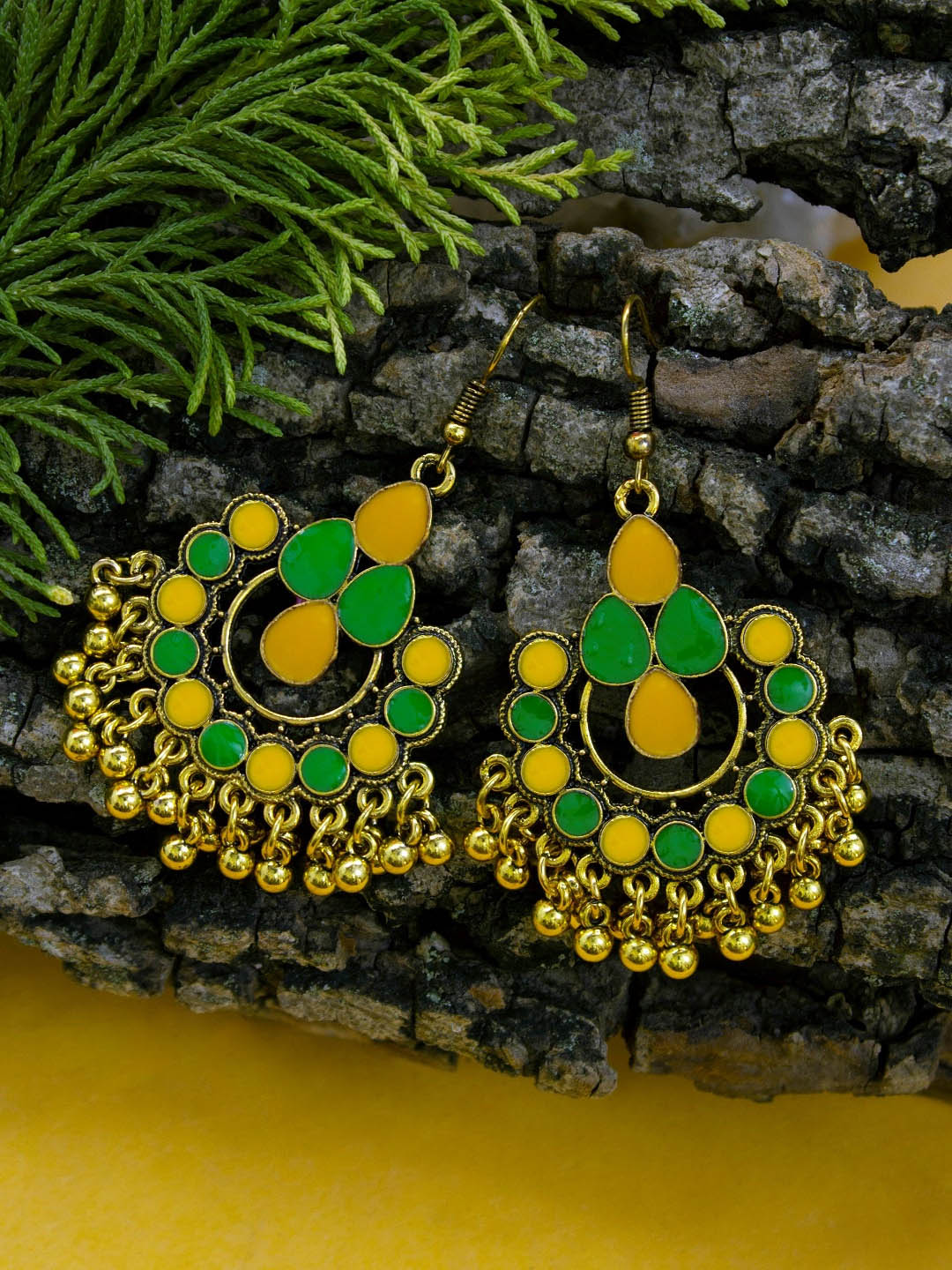 Aana Gold Plating Yellow And Green Color Floral Design Afghani Earring-AANA-Earring