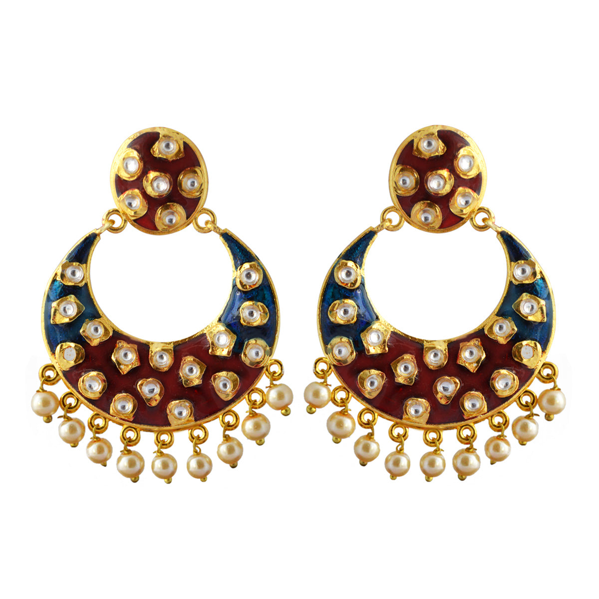 Blue And Maroon Meenakari Tribal Dual Half Moon Design With Kundan Earring