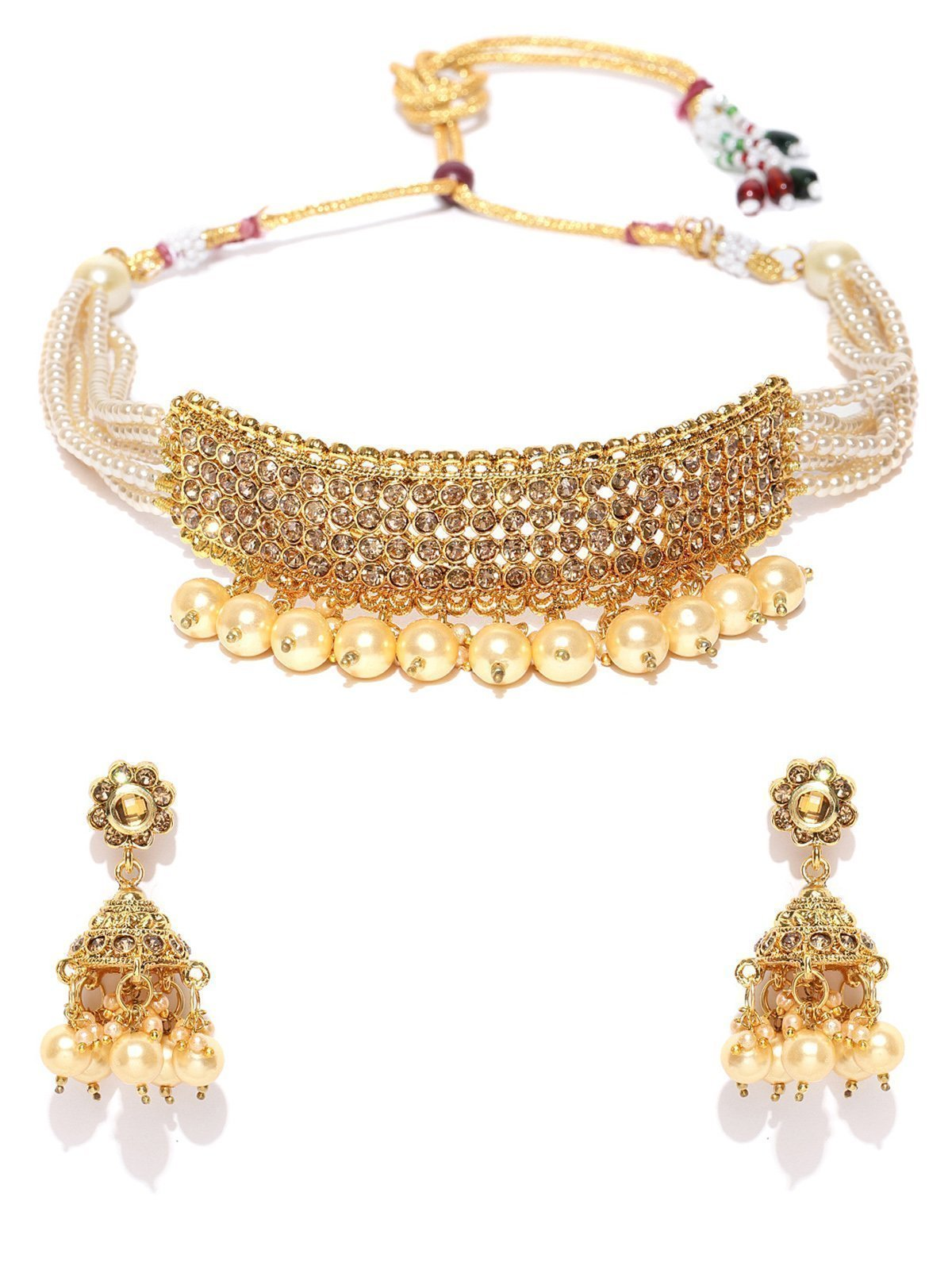 Zaveri Pearls Shimmering Austrian Diamonds And Pearls Choker Necklace Set