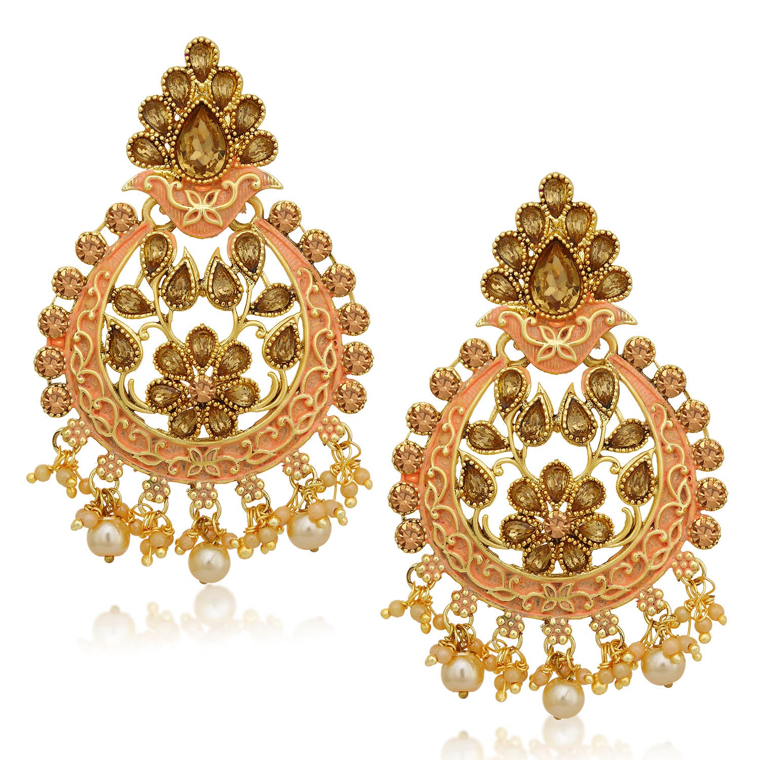 Sukkhi Glorious LCT Stone Gold Plated Floral Pink Mint Meena Collection Chandbali Earring For Women-SUKKHI1-Earring