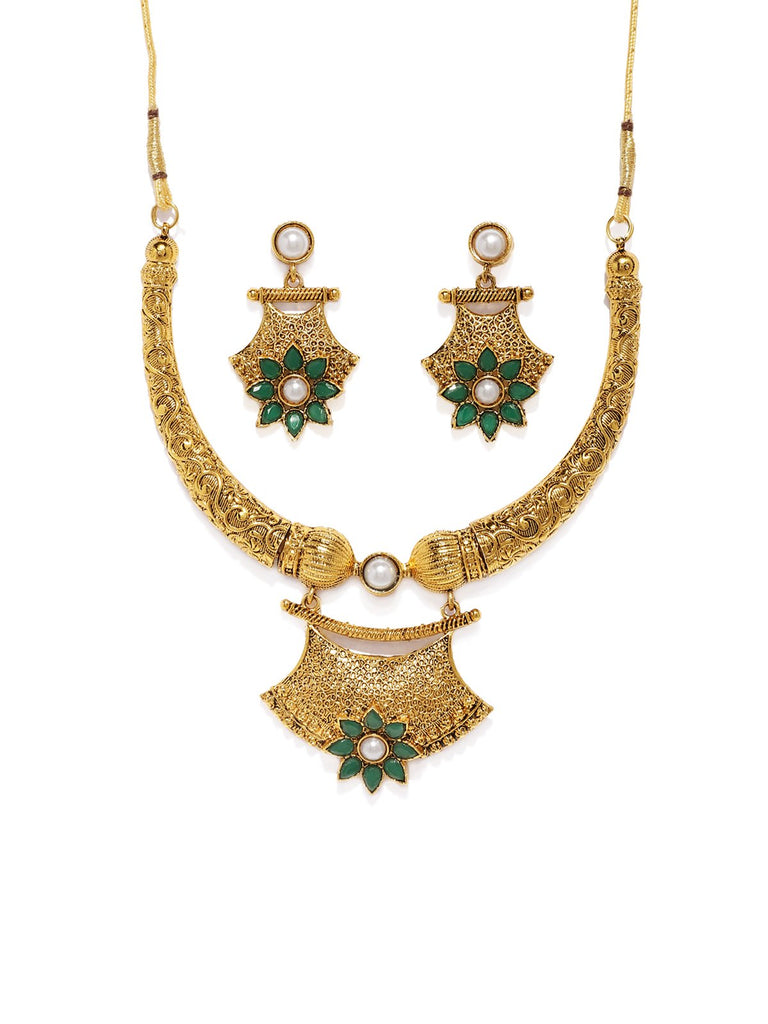 Antique Gold Tone Intricately Designed Traditional Necklace Set