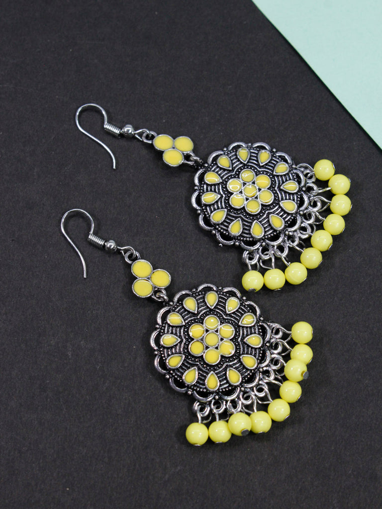 Aana Gold Plated Floral Design Yellow Earring-AANA1-Earring