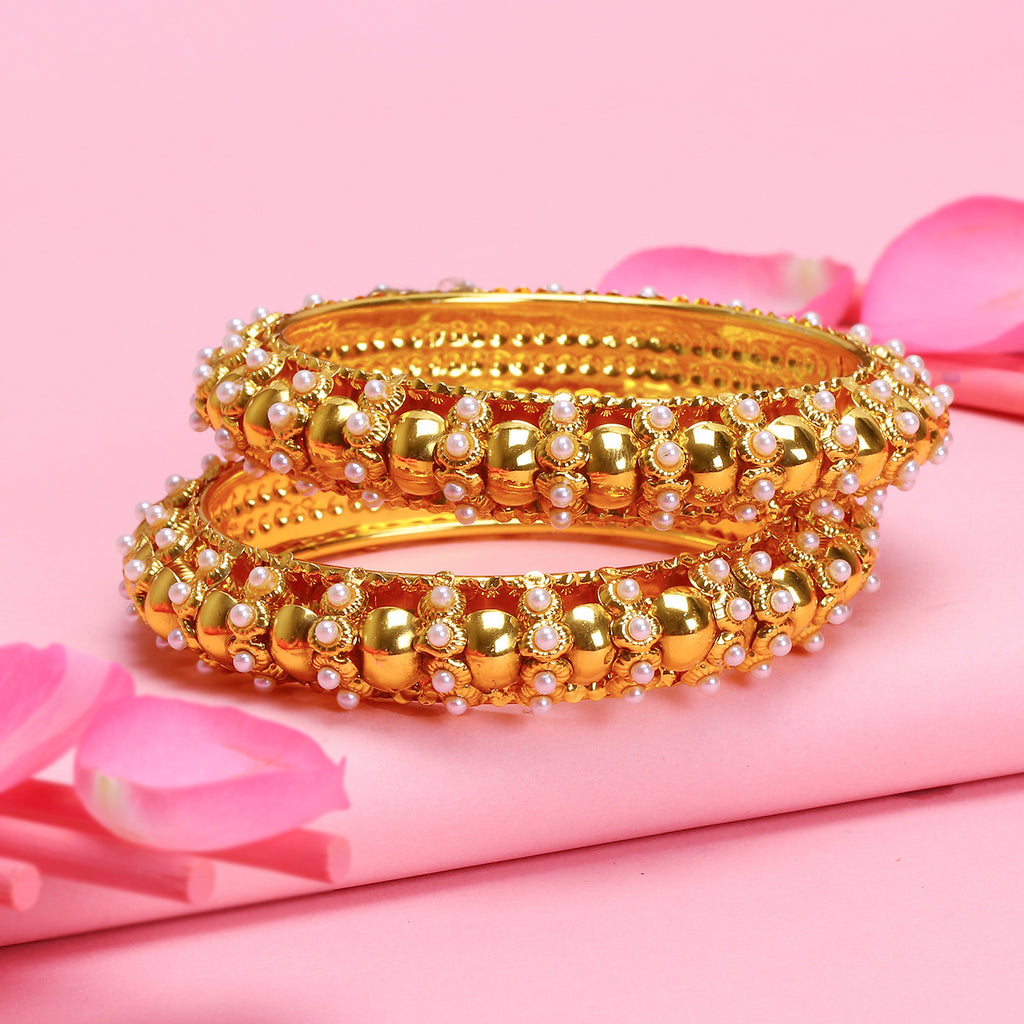 18 Karat Gold Plated Geometric Design With Pearls Bangle By Sukkhi