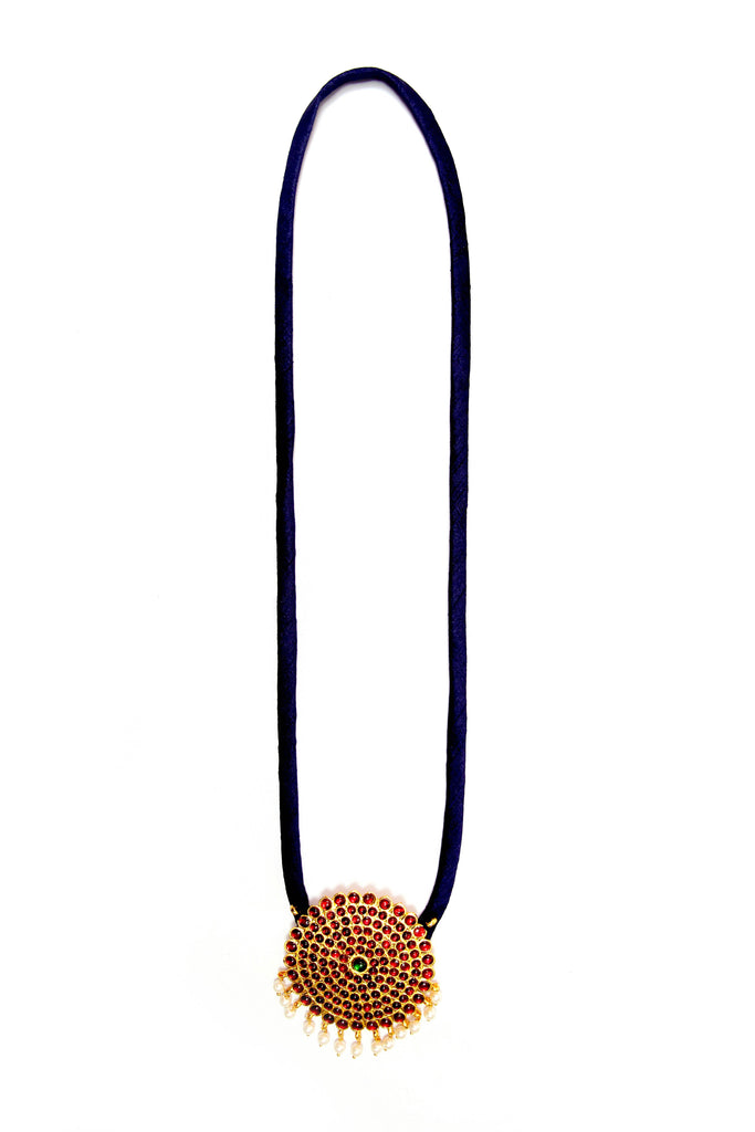 Navy Blue Color Single Dollar Contemporary Temple Necklace