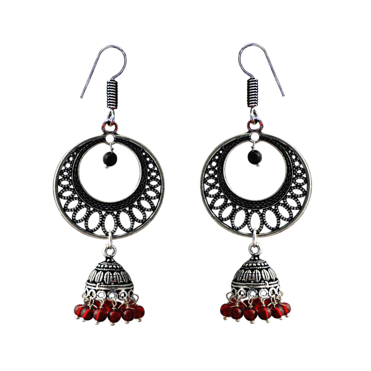 Antique Moon Dangler With Dome Earring