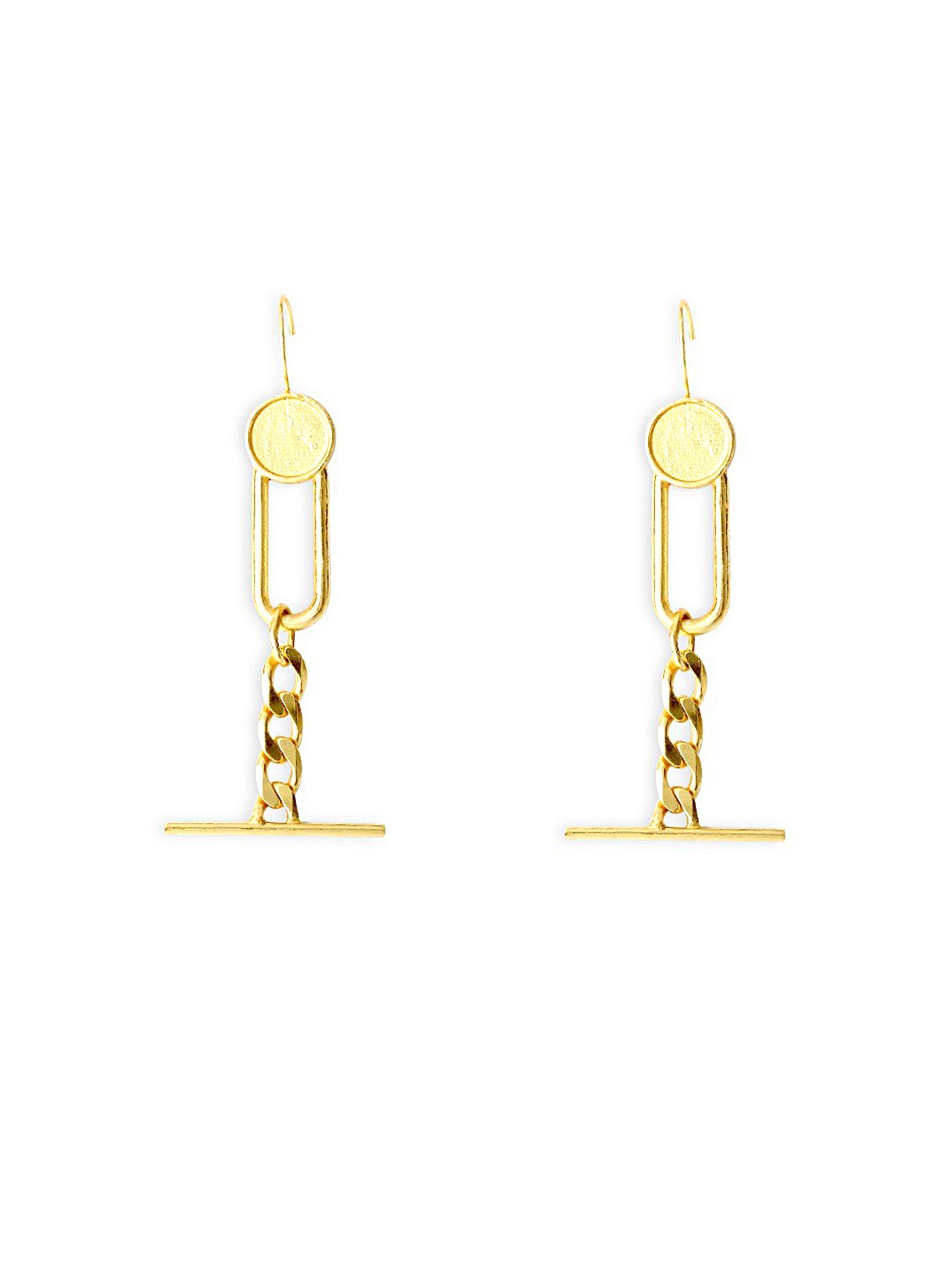 Swing Chain Gold Earrings