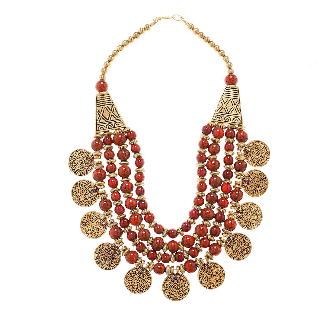 Maroon Color Beads And Gold Plated Coins Medium Size Necklace Floral Design By Imli Street-IMLI STREET-Necklace